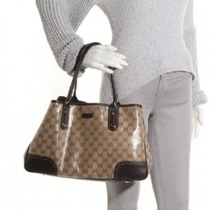 Gucci Bags - Gucci Crystal Princy Brown Canvas Leather Tote